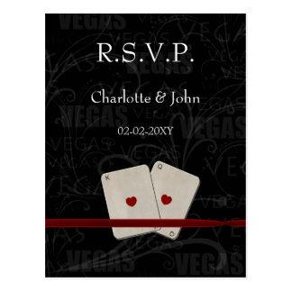Tarjeta del rsvp del boda de Vegas
