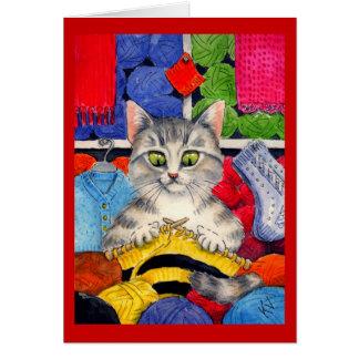 Tarjeta del saludo o de nota del gato que hace