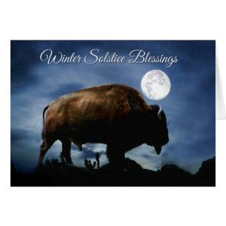 Tarjeta del solsticio de invierno del bisonte de