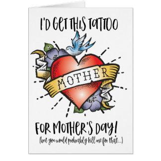 Tarjeta del tatuaje del día de madre