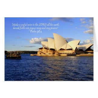 Tarjeta del teatro de la ópera de Sydney con verso