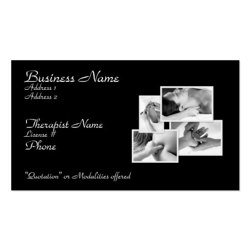 Tarjeta del terapeuta de la carrocería del masaje plantillas de tarjetas personales