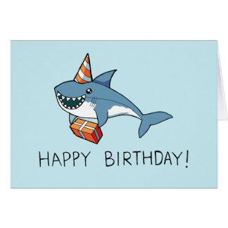 Tarjeta del tiburón del feliz cumpleaños