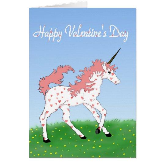 Tarjeta del unicornio de la tarjeta del día de San