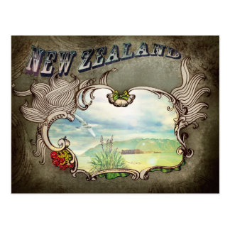 Tarjeta del vintage de Nueva Zelanda