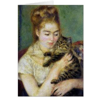 Tarjeta del vintage de Renoir del gato
