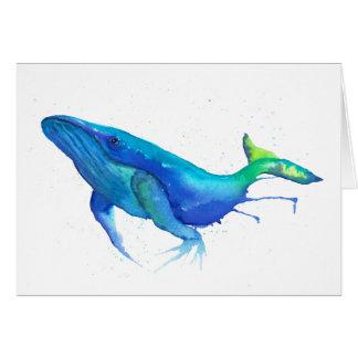 Tarjeta del Watercolour de la ballena