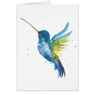 Tarjeta del Watercolour del colibrí