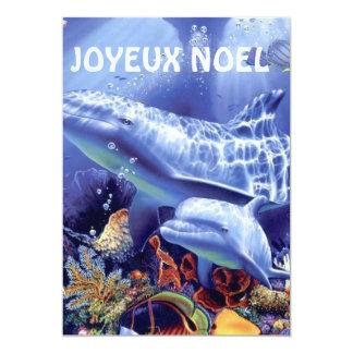 tarjeta delfines feliz Navidad Invitación 12,7 X 17,8 Cm