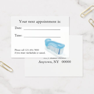 Tarjeta dental de la cita