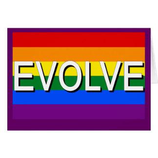 Tarjeta DESARRÓLLESE con la bandera del orgullo gay para