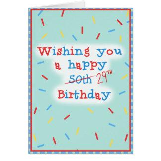 Tarjeta Deseándole un 50.o feliz… 29no Cumpleaños