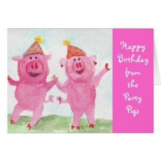 Tarjeta Deseo de los cerdos del fiesta usted feliz