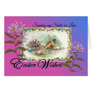 Tarjeta Deseos de Pascua para la cuñada, P'card antiguo