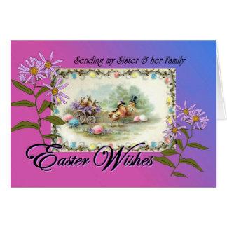 Tarjeta Deseos de Pascua para la hermana y la familia,