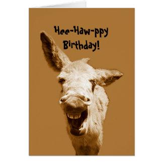 Tarjeta Deseos de risa del cumpleaños del burro