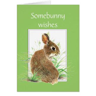 Tarjeta Deseos del aniversario de Somebunny, conejo lindo,