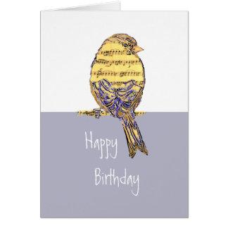 Tarjeta Deseos del cumpleaños con un pájaro de la nota de