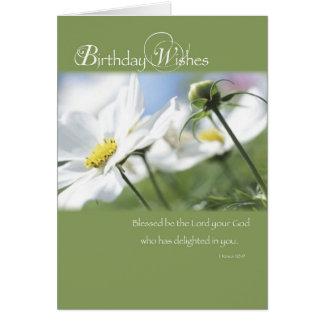 Tarjeta Deseos del cumpleaños, flores, religiosas