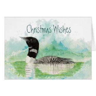 Tarjeta Deseos del navidad con el pájaro del bribón de la