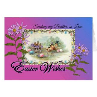 Tarjeta Deseos para el cuñado, conejos de Pascua de los