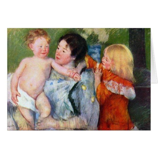 Tarjeta Después del baño de Mary Cassatt