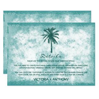 Tarjeta Detalle tropical del boda de playa de la palmera