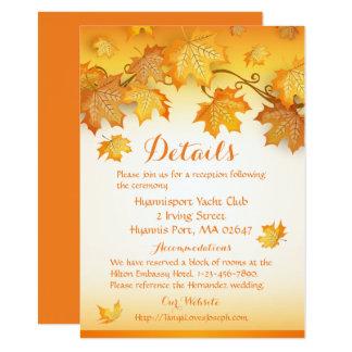 Tarjeta Detalles del boda de la caída/hojas del naranja de