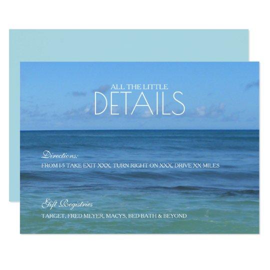 Tarjeta Detalles del boda de playa/TARJETA tropicales de