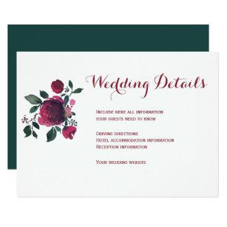Tarjeta Detalles florales de la huésped del boda de