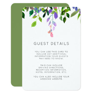 Tarjeta Detalles florales de la huésped del boda de la