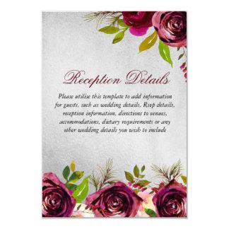 Tarjeta Detalles florales de plata de la recepción nupcial