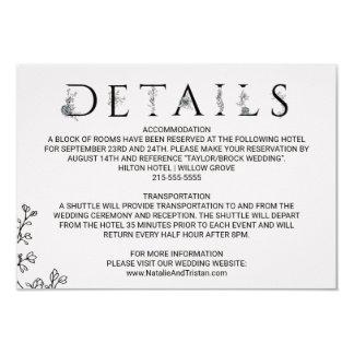 Tarjeta Detalles florales del boda de la tipografía