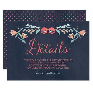 Tarjeta Detalles florales elegantes del boda de la pizarra