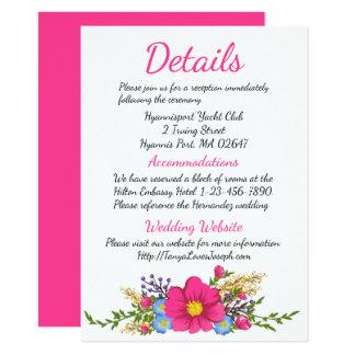 Tarjeta Detalles florales que casan las flores magentas