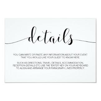 Tarjeta Detalles minimalistas simples del boda de la