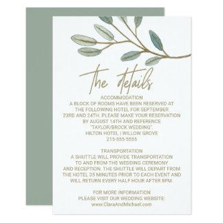 Tarjeta Detalles veteados oro del boda del eucalipto