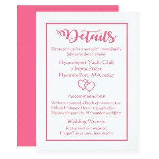Tarjeta Detalles y corazones rosados y blancos del boda