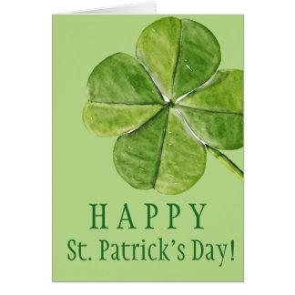 Tarjeta Día afortunado verde de San Patricio del trébol