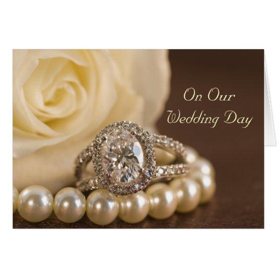 Tarjeta Día de boda del anillo de diamante oval y del rosa