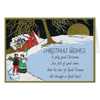 Tarjeta Día de fiesta azul Nevado del navidad del