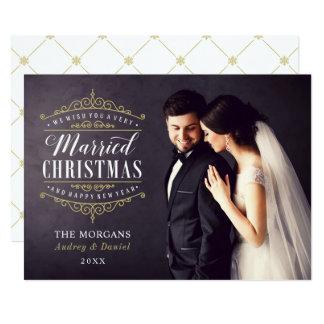 Tarjeta Día de fiesta casado de la foto del recién casado