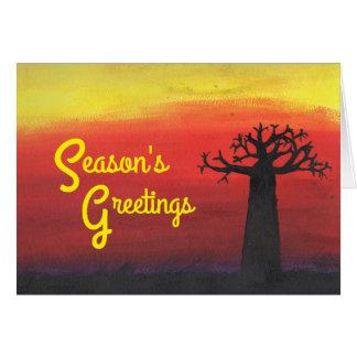 Tarjeta Día de fiesta de la puesta del sol del baobab