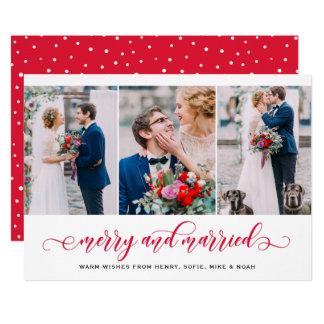 Tarjeta Día de fiesta feliz y casado rojo del collage de