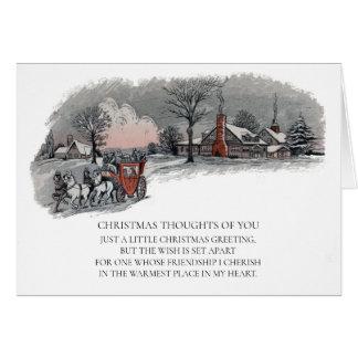 Tarjeta Día de fiesta Nevado del carro del navidad del