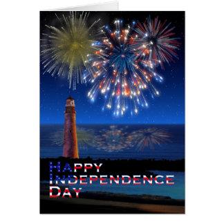 Tarjeta Día de la Independencia feliz del faro y de los