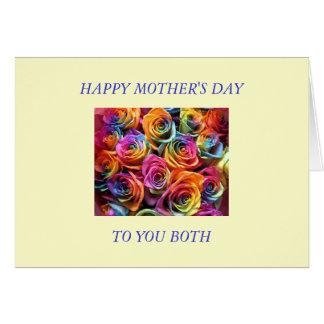 Tarjeta Día de madres feliz a mis dos mamáes
