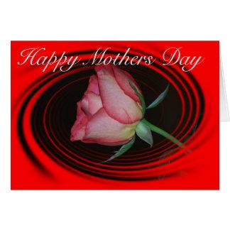 Tarjeta Día de madres feliz con un rosa rojo con un