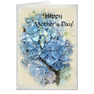 Tarjeta Día de madres feliz floral del Hydrangea azul