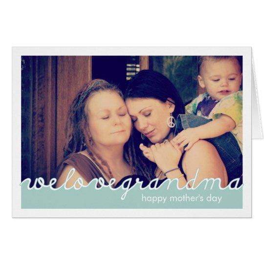 Tarjeta Día de madres feliz para el blanco azul de la foto